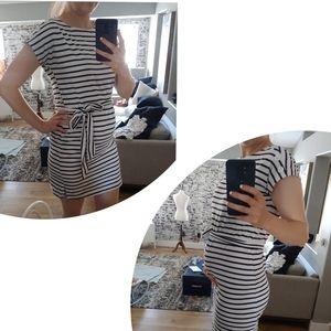 White & Navy Blue Striped Maternity Dress!